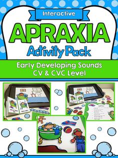 Cute Bathtime Themed Interactive Apraxia Activities by TeachingTalking.com