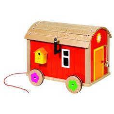 Roulotte en bois pour poupées avec accessoires - à partir de 3 ans - Sebio  Roulotte af6db753c39b
