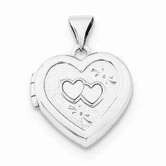 "NEW STERLING SILVER POLISHED HEART WITH DOUBLE HEARTS DESIGN LOCKET PENDANT .60"" #Locket"