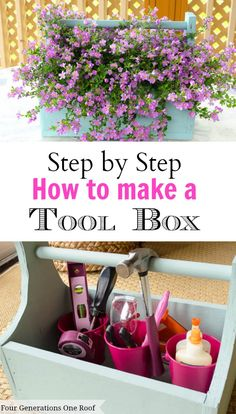 """My grandfather and I recently spent some time making a toolbox for all of my tools! I decided it looked pretty good as a planter as well :) He was not impressed. NOW my gram wants a toolbox as a planter! ha. I am sharing """"step-by-step"""" instructions on how to make your own toolbox/planter. @Four Generations One Roof"""