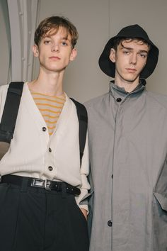 Boys and Bucket Hats Backstage at Margaret Howell - -Wmag