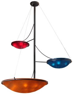 """86""""W Metro Fusion The Third Demension 3 Arm Glass Chandelier"""