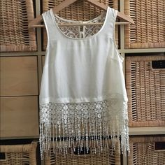 Lace fringe crop top Has a few stains but not that noticeable when wearing. Super cute for summer! Tops Crop Tops