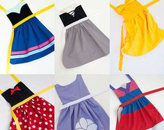 Pick 6 princess set dress up aprons: Snow White, Cinderella, Sleeping Beauty… Dress Up Aprons, Dress Up Outfits, Girl Outfits, Dresses, Disney Princess Aprons, Princess Dress Up, Disney Aprons, Princess Apron Pattern, Sewing Hacks