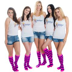 Knee highs with pink and purple stripes. Two very popular colors. Order Now Braided Hairstyles Updo, Updo Hairstyle, Prom Hairstyles, Braided Updo, Updos, Yellow Socks, Thigh High Socks, Knee Socks, Colorful Socks