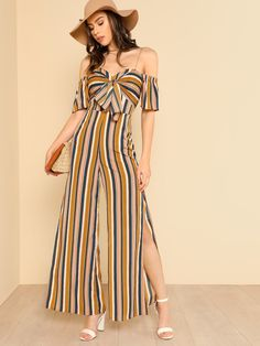 SHEIN offers Knot Sweetheart Neck Slit Hem Wide Leg Jumpsuit & more to fit your fashionable needs. Fashion Mode, Girl Fashion, Fashion Dresses, Bridal Jumpsuit, Jumpsuit Dress, Classy Outfits, Cute Outfits, Striped Outfits, Dress Outfits