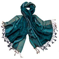 Etole pashmina vert émeraude rayures motifs cachemire - Etole pashmina - Mes Echarpes