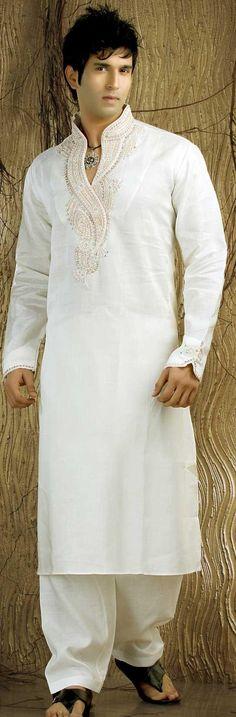 Off White Linen Kurta Pajama for Men's (NMK-481)