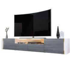 Casanova porta TV moderno, mobile soggiorno bianco con illuminazione a led