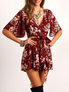 Red Floral Waist Tie Romper. Fabric: Fabric has no stretch Season: Summer Pattern Type: Floral Color: Burgundy Sleeve Length: Half Sleeve Material: Polyester Neckline: V neck Style: Sexy, Elegant Shou