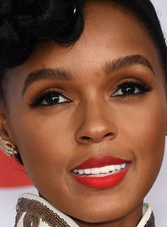 Close-up of Janelle Monae at the 2015 CFDA Fashion Awards. http://beautyeditor.ca/2015/06/06/best-celebrity-beauty-looks-emmy-rossum