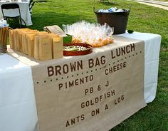 Camp party lunch. This would be so easy for a kids bday party. Especially at the beach etc