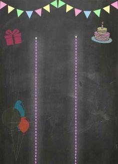Uma ideia para a decoração de sua festa é o quadro em giz. Você pode escrever o tema da festa e as características do aniversariante. Fica lindo!