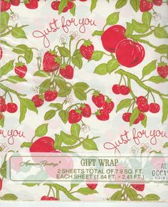 Vintage 1970's ALL OCCASION Gift Wrapping Paper; Red, Green Strawberries & Tomatos - New Vintage Studio