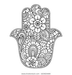 """Hamsa hand drawn symbol with flower. Decorative pattern in oriental style for interior decoration and henna drawings. The ancient sign of """"Hand of Fatima"""". Hamsa Tattoo Design, Hamsa Hand Tattoo, Hamsa Art, Hamsa Design, Hamsa Drawing, Henna Drawings, Pattern Coloring Pages, Coloring Book Pages, Flower Mandala"""