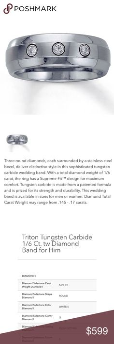 """TRITON Tungsten 3 Stone Wedding Band   Brand New  Hubby """"Grew out of it"""" before the ceremony, lol  Retail $699Comes with Jared Galleria of Jewelry Lifetime Insurance (value $149) TRITON Accessories Jewelry"""