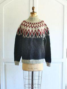 Norwegian Sweater / Black Cardigan / Ski Sweater / 60s Sweater ...