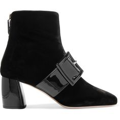 Miu Miu Buckled patent-leather and velvet ankle boots ($875) ❤ liked on Polyvore featuring shoes, boots, ankle booties, black, miu miu, buckle ankle boots, black ankle boots, black booties, short boots and patent leather ankle boots