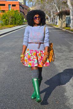 Sweater + Floral Mini Dress + Hunter Rain Boots