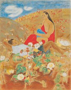 Chun Kyung-ja(Korean, 천경자, 1924 - ), At the Cotton Field