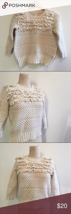 """Cream Sweater Fun cream knit sweater with fringe detail from Anthropologie. 56% cotton, 37% nylon, 7% angora. Shoulders: 15"""" 