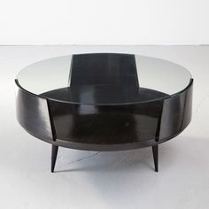 "inspiring-elements:    Carlo Hauner, Brazil, 1960s Round ebonized wood coffee table with glass top. Designed for Forma. 18.5"" H x 36"" D  /  ..."