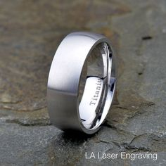 Titanium wedding band 8mm brushed domed by LALaserEngraving