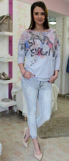 Grey jeans Trouser Jeans, Trousers, Grey Jeans, Shirt Blouses, Long Sleeve Shirts, Capri Pants, Fashion, Bebe, Moda