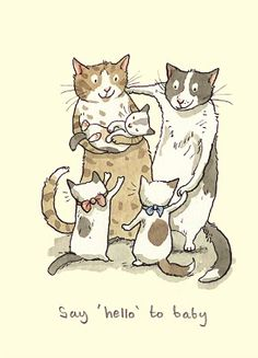 """Two Bad Mice Greeting Card - Say """"Hello"""" To Baby by Anita Jeram"""