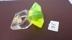 60s clear yellow cabochon lucite ring Size 7.5  by LoukiesWorld