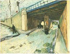 The Railway Bridge over Avenue Montmajour, Arles by Vincent Van Gogh Painting, Oil on Canvas  Arles: October, 1888