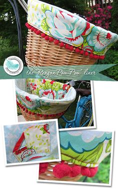 The Reagan PomPom Bicycle Basket Liner by BlueSkyConfections, $42.00.Beautiful Basket liners. #Basket liner #Liner #Basket #wicker basket