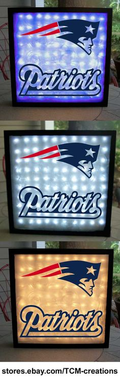 NFL National Football League New England Patriots shadow boxes with LED lighting & multiple vinyl decals
