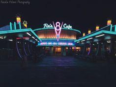 #disney #disneyland #californiaadventure #flosv8cafe #cafe #radiatorsprings #cars #carsland #night #lights #photography #photographer by holmes.photography