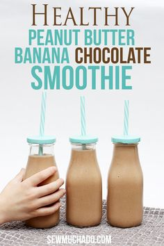 Peanut Butter Banana Chocolate Smoothie - tastes like a milkshake but is healthy!