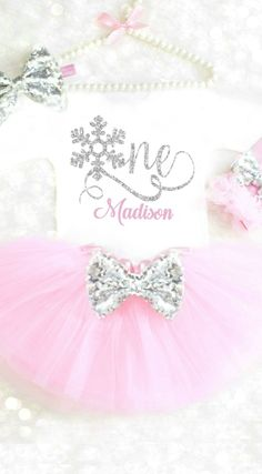 Winter Onederland Outfit is perfect for Winter Birthday Parties and Winter Cake Smash photos! Pink and Silver Tutu Outfit