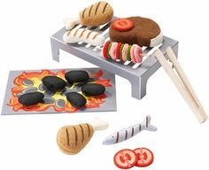 Haba's adorable tabletop Barbecue Grill Set includes a cardboard grill and fire and soft food options for hours of pretend play. Play Food Set, Felt Play Food, Pretend Food, Pretend Play, Kids Play Kitchen, Toy Kitchen, Play Kitchens, Bbq Grill Set, Shish Kebab