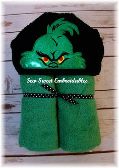 Hey, I found this really awesome Etsy listing at https://www.etsy.com/listing/247052847/grinch-inspired-hooded-toweltowel