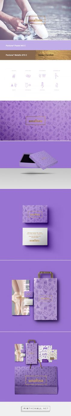 Branding, graphic design and packaging for Analina on Behance curated by Packaging Diva PD. Beautiful purple project developed for a department store located in Chapecó / SC.
