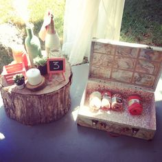 A look at some of our wedding decor crafts! #rustic #mint #coral #wedding #decor