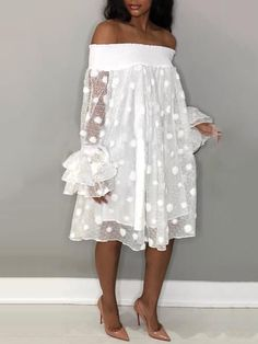 Dots Mesh Shirring Off Shoulder Casual Dress