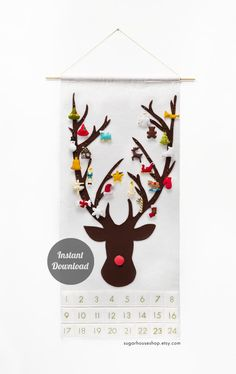 "Advent Calendar Pattern - Christmas Felt Decoration - Rudolph the Red-Nosed Reindeer - ""Dashing Through the Snow with 24 Ornament Shapes"" by SugarHouseShop on Etsy https://www.etsy.com/listing/207575785/advent-calendar-pattern-christmas-felt"