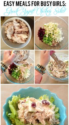"Easy Meals for Busy Girls: Healthy Greek Yogurt Chicken Salad..another pinner says ""This was Great!!!  I made a couple of changes...green pepper instead of celery, green onion instead of regular onion, added a little mayo with the yogurt, pecan instead of almond...despite the changes I feel I followed the spirit of the recipe and was delighted!  I will make this on a REGULAR basis!!! :-))"""