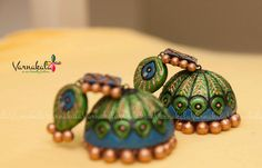 Check out this item in my Etsy shop https://www.etsy.com/listing/228352525/terracotta-earring-green-blue-bronze