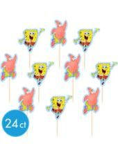 SpongeBob Fun Picks 24ct -Cupcake Supplies -Birthday Cake Supplies -Boys Birthday -Birthday Party Supplies - Party City