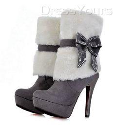 Fashion Suede Upper Stiletto Heels Platform Boots