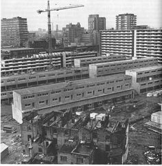 The BT Tower and (?) Centre Point provide reference points, but many of the old and new buildings nearer may be demolished. Old London, London City, Council Estate, Elephant And Castle, Tower Block, London Architecture, London History, London Pictures, Social Housing