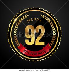 92 golden anniversary logo with red ribbon, low poly design number - stock vector
