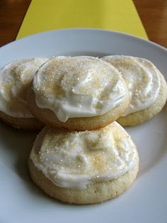Lemon sugar cookies with lemon cream cheese frosting...yes please.