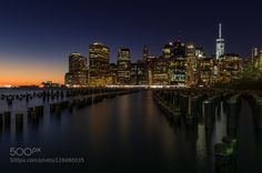New York- Brooklyn view by GiladLev-Shamur  New York beach beautiful blue brooklyn city cityscape light new york city night park sea sky sun